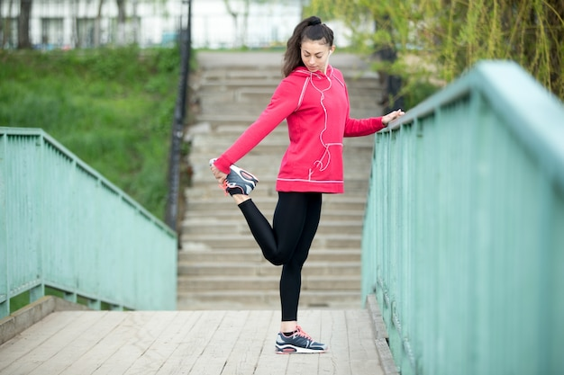 Fitness woman preparing for running