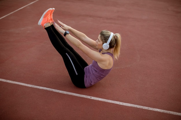 Fitness woman training abs workout