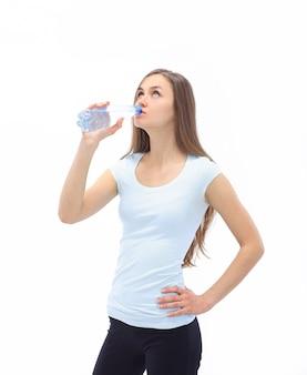 흰색에 물 bottle.isolated 피트 니스 여자