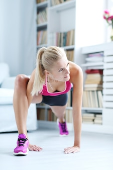 Fitness woman workout at home