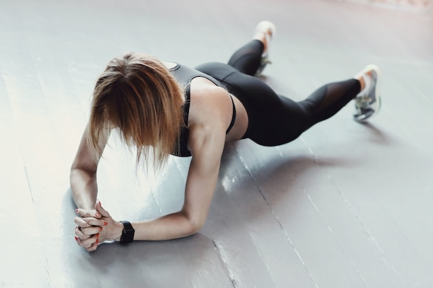 Fitness and workout. woman in the gym