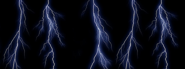 Five blue lightning bolts on black