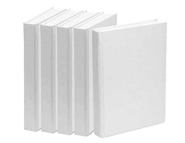 5冊の本。白い背景で隔離の白い紙の本の空白のテンプレート。モックアップ
