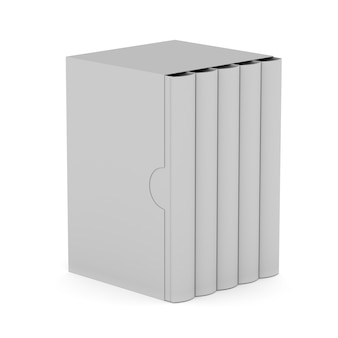 Five books with blank box cover on white background. isolated 3d illustration