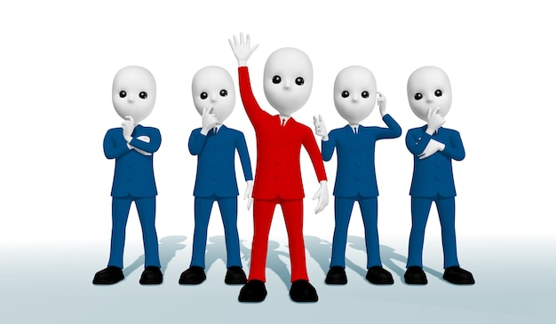 파란색 사고 3d 그림을 제시하는 손을 올리는 빨간색 양복을 입은 5명의 사업가