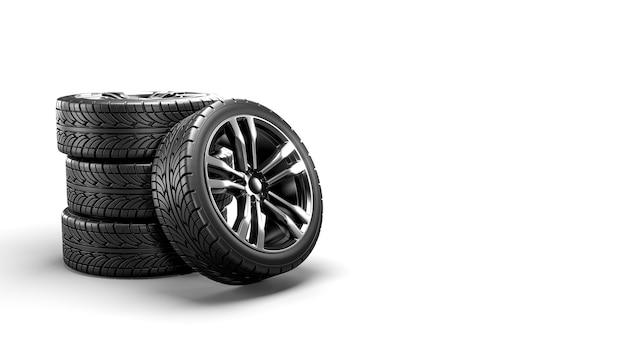 절연 흰색에 5 개의 자동차 바퀴입니다. 3d 렌더링 프리미엄 사진