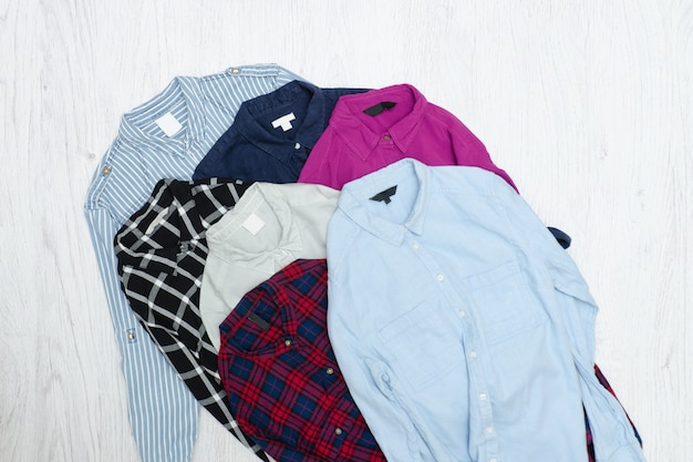 Five colorful shirts, assortment. fashion concept