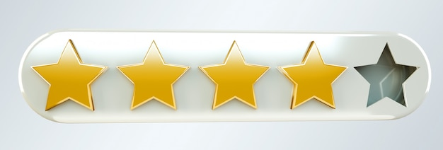 Five digital gold ranking stars 3d rendering