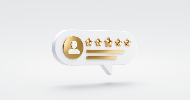 フラットなデザインのランキングアイコンのシンボルで最高の評価満足度の背景に5つのゴールドスターレートレビューカスタマーエクスペリエンス品質サービス優れたフィードバックの概念。 3dレンダリング。