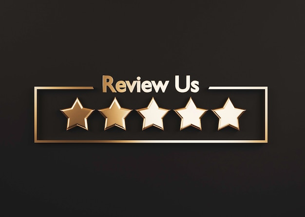 3d 렌더링을 통해 제품 및 서비스 개념을 사용하기 위한 최고의 고객 고객 평가를 위해 검은색 바탕에 5개의 황금 별이 있습니다.