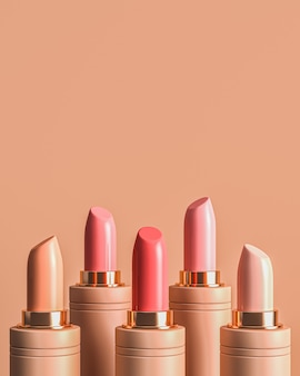 Five lipstick random color, cosmetic for ads branding and product presentation.