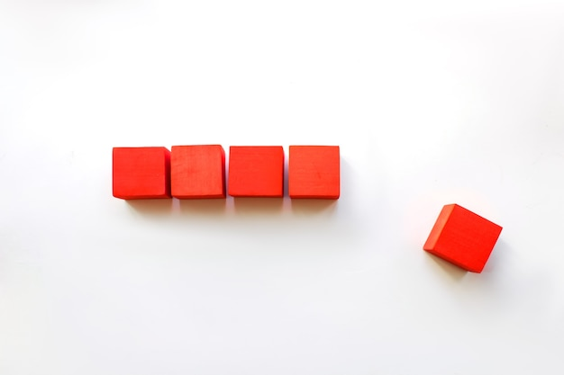 Five red blocks in loading bar. goal planning business concept. copy space. loading time or proces