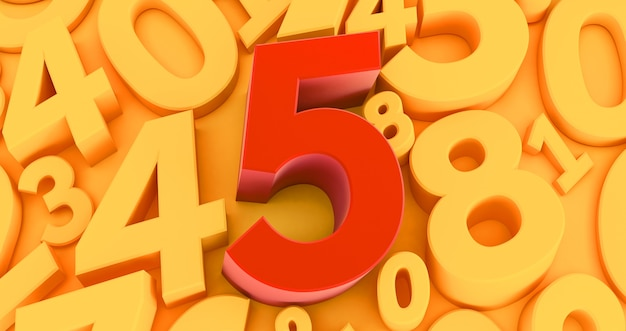 Five red number  on the middle. 3d red number collection - 5