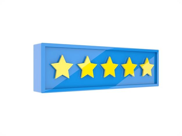 파란색 플라스틱 상자 프레임 3d 그림에 5 개의 별