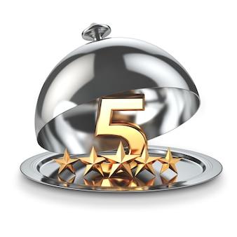 Пять звезд на клош. концепция рейтинга обслуживания ресторана или отеля. 3d