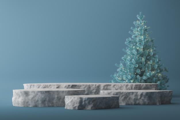 5つの石の表彰台と青いクリスマスツリーは青い背景、プレゼンテーション用の抽象的なモックアップです。 3dレンダリング
