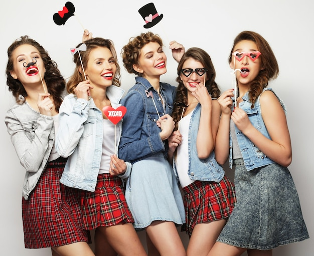 Five stylish sexy girls best friends ready for party