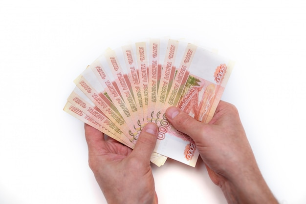 Five thousand russian rubles in hand isolated