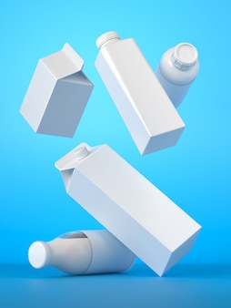 Five types of blank milk packaging random falling on the blue background