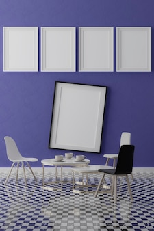 Five vertical white frames on blue wall