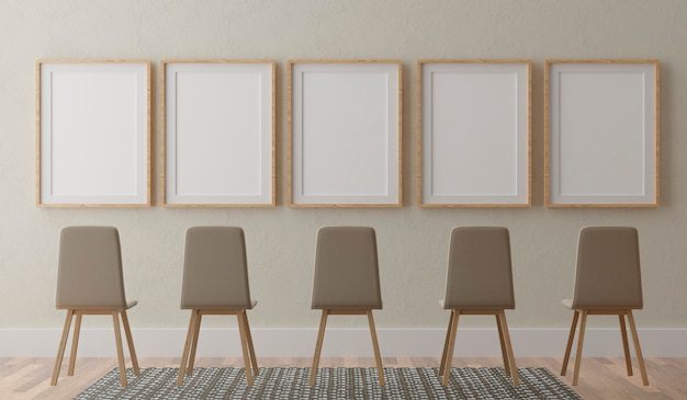 Five vertical white frames and chairs on beige wall