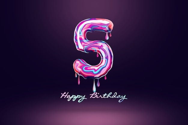 Five year anniversary background, number from pink candy on dark background. concept for happy birthday background, brochure template, party, poster. 3d illustration, 3d rendering.