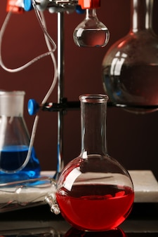 어두운 색상에 대한 지원에 고정 실험실 유리 그릇