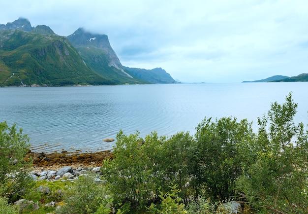 Летний пасмурный вид на фьорд с каменистым пляжем (норвегия)