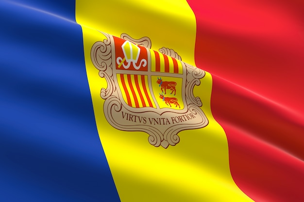 Flag of andorra 3d illustration of the andorran flag waving