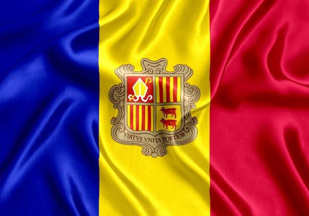 Flag of andorra silk close-up