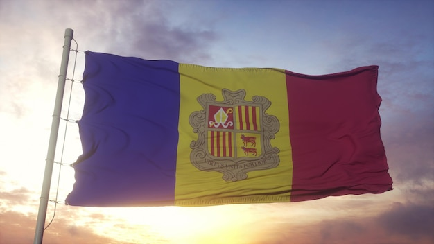 Flag of andorra waving in the wind, sky and sun background. 3d rendering.