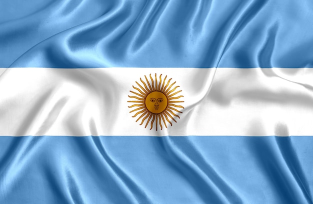 Flag of argentina silk close-up