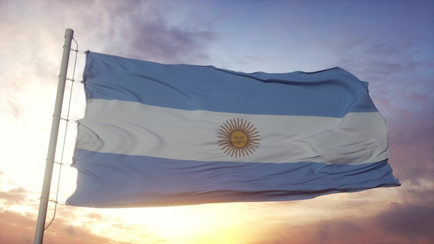Flag of argentina waving in the wind, sky and sun background. 3d rendering.