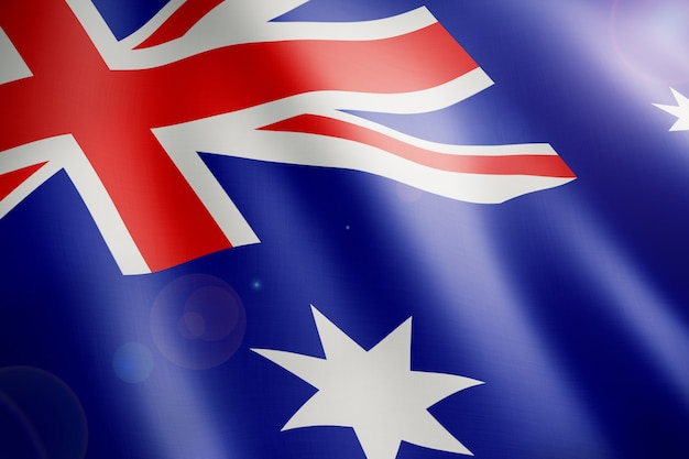 Flag of australia close up waving