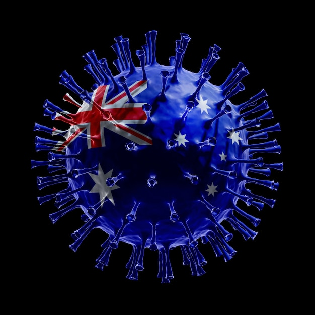 Flag of australia on covid-19 is virus concept. 3d rendering