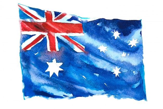 Flag of australia painted in watercolors