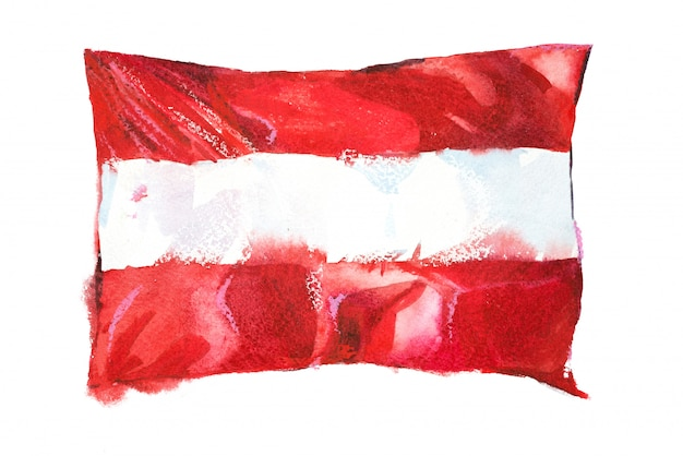 Flag of austria painted in watercolors
