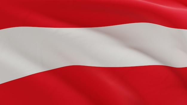 Flag of austria waving in the wind, fabric micro texture in quality 3d render