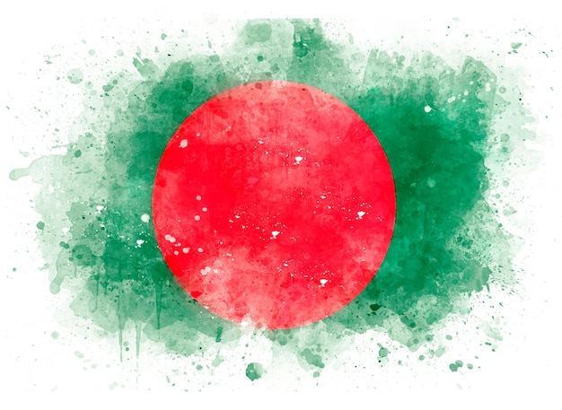 Flag of bangladesh as watercolor illustration