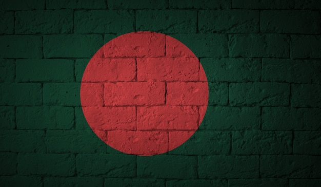 Flag of the bangladesh on grunge wall background. original proportions