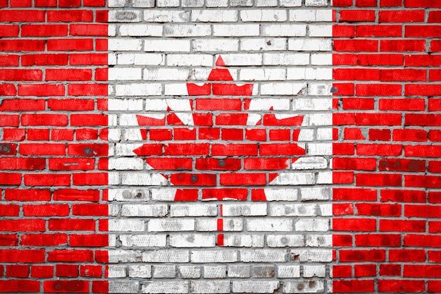 Flag  banner on brick wall .