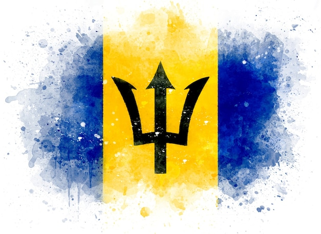 Flag of barbados as watercolor illustration
