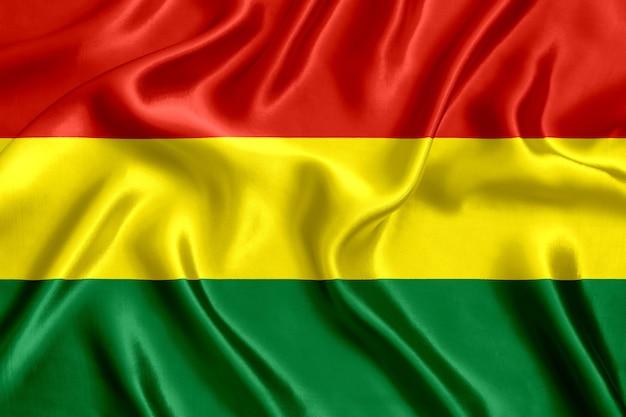 Flag of bolivia silk close-up background