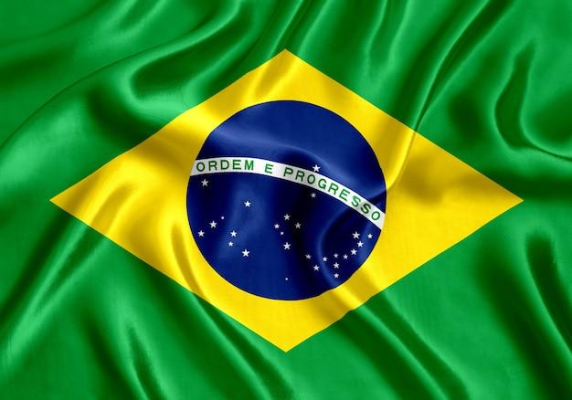 Flag of brazil silk close-up background