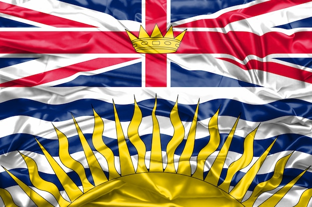 Flag of british columbia state of canada on soft and smooth silk texture