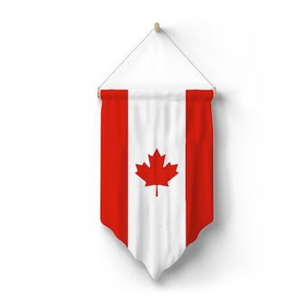Flag of canada is hanged on the wall