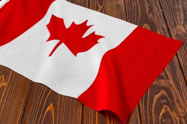 Flag of canada on wooden background, copy space