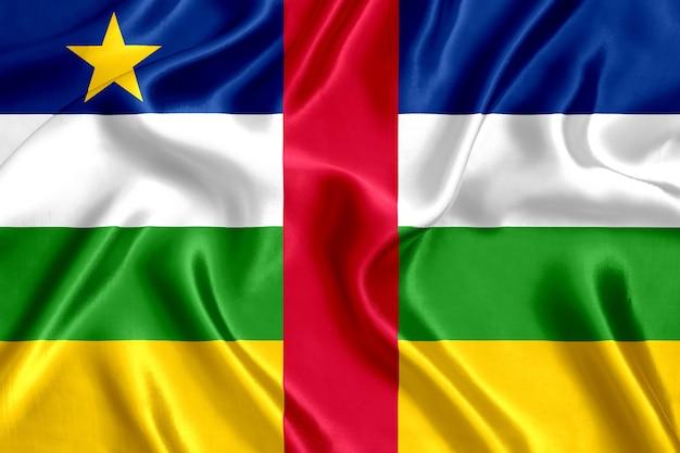 Флаг центральноафриканской республики шелк крупным планом фон