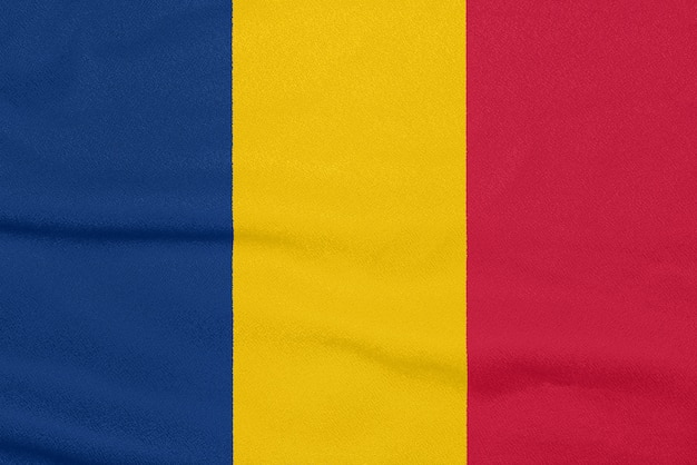 Flag of chad on textured fabric