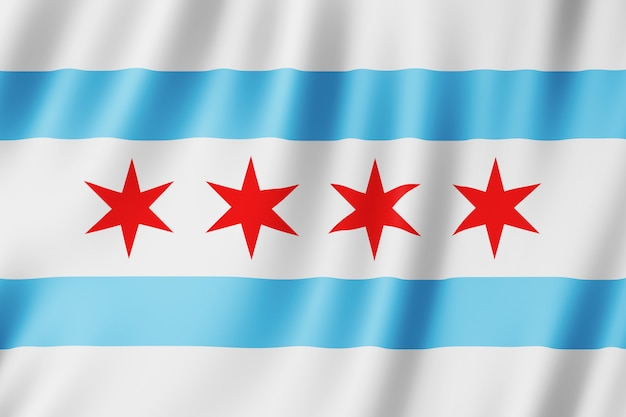 Flag of chicago city, illinois (us)